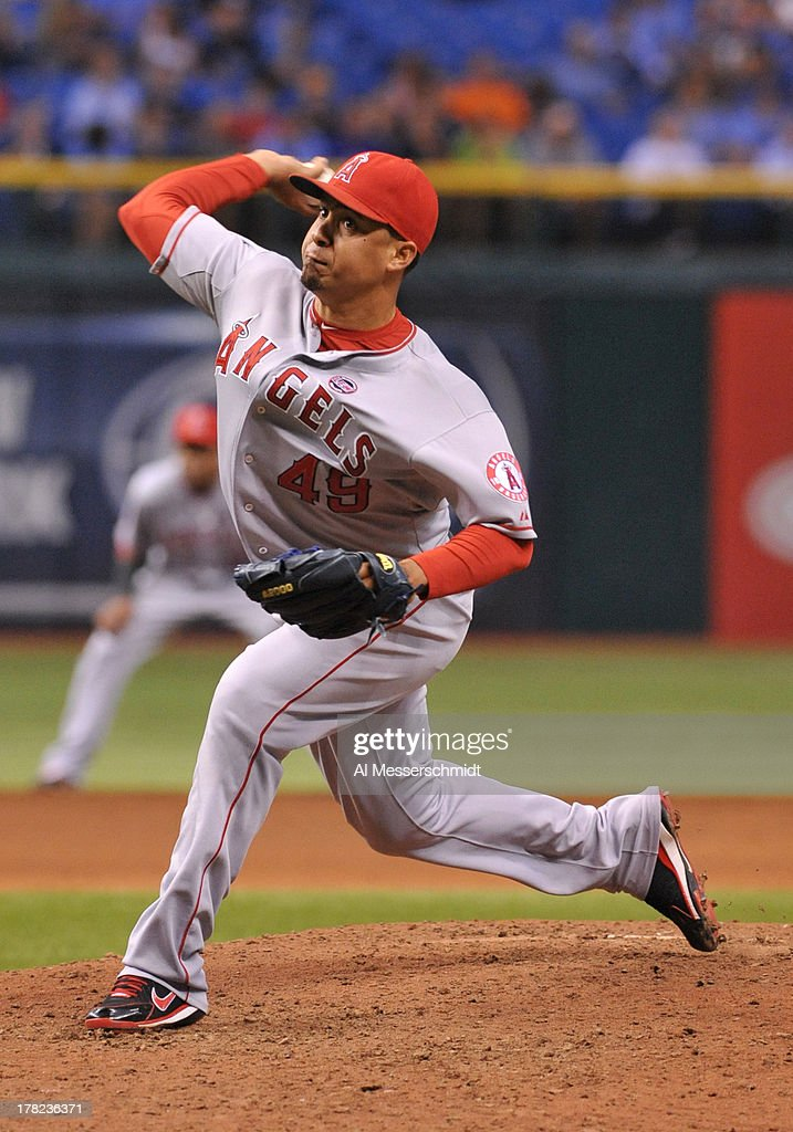 Pitcher Ernesto Frieri #49 of the Los Angeles Angels throws in relief against the Tampa Bay Rays August 27, 2013 at Tropicana Field in St. Petersburg, Florida. The Angels won 6 - 5.
