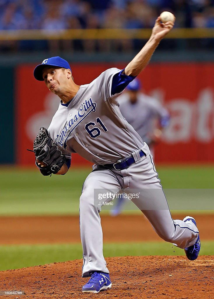 Pitcher <a gi-track='captionPersonalityLinkClicked' href=/galleries/search?phrase=Everett+Teaford&family=editorial&specificpeople=7512575 ng-click='$event.stopPropagation()'>Everett Teaford</a> #61 of the Kansas City Royals pitches against the Tampa Bay Rays during the game at Tropicana Field on August 20, 2012 in St. Petersburg, Florida.