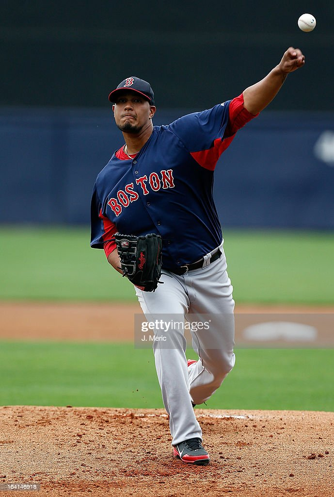 Pitcher Felix Doubront #22 of the Boston Red Sox pitches against the New York Yankees during a Grapefruit League Spring Training Game at George M. Steinbrenner Field on March 20, 2013 in Tampa, Florida.