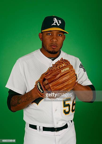 Pitcher Fernando Abad of the Oakland Athletics poses for a portrait during the spring training photo day at HoHoKam Stadium on February 28 2015 in...