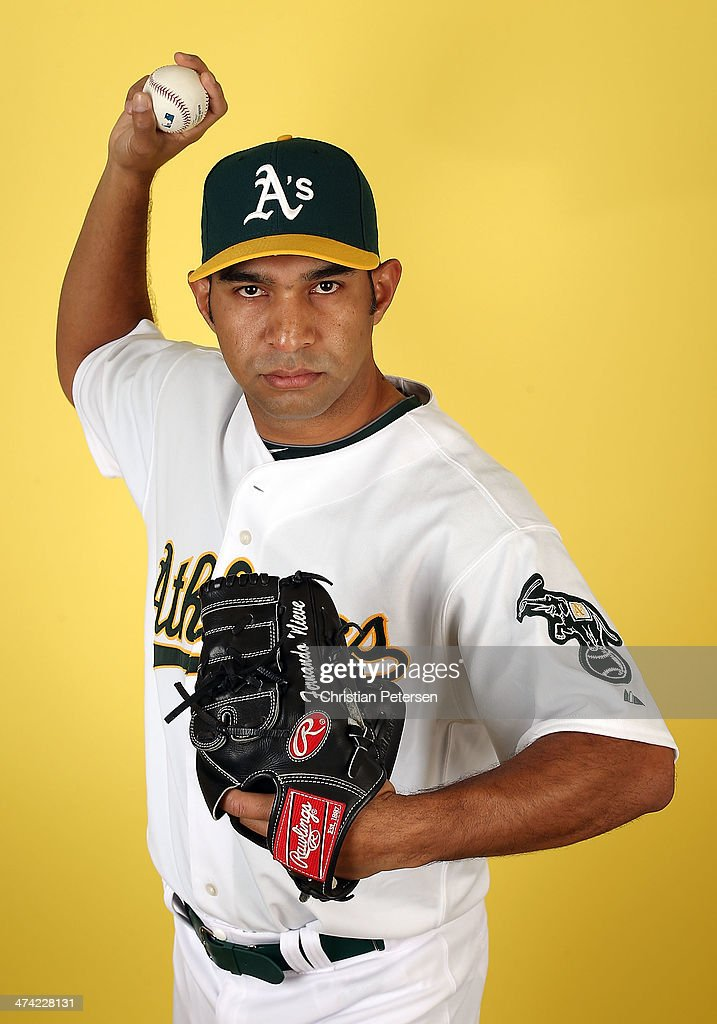 Pitcher Fernando Nieve #49 of the Oakland Athletics poses for a portrait during the spring training photo day at Phoenix Municipal Stadium on February 22, 2014 in Phoenix, Arizona.