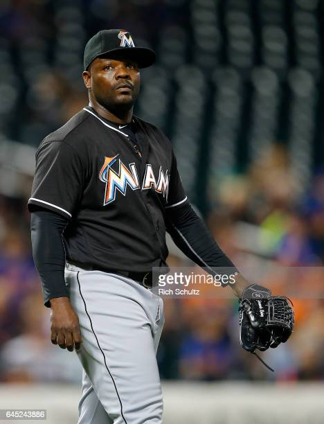 Pitcher Fernando Rodney of the Miami Marlins in action against of the New York Mets during a game at Citi Field on September 1 2016 in the Flushing...