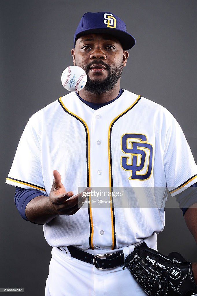 Pitcher <a gi-track='captionPersonalityLinkClicked' href=/galleries/search?phrase=Fernando+Rodney&family=editorial&specificpeople=547291 ng-click='$event.stopPropagation()'>Fernando Rodney</a> #56 of the San Diego Padres poses for a portrait during spring training photo day at Peoria Sports Complex on February 26, 2016 in Peoria, Arizona.