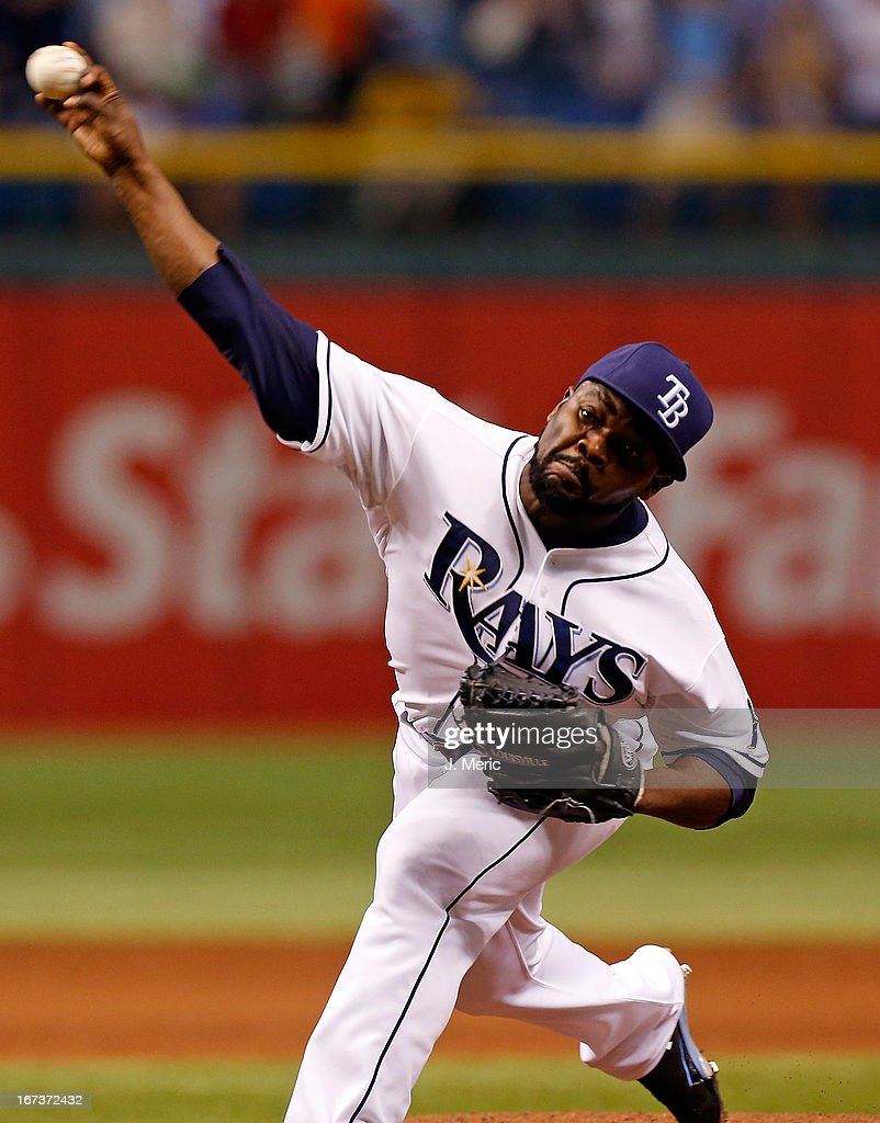 Pitcher <a gi-track='captionPersonalityLinkClicked' href=/galleries/search?phrase=Fernando+Rodney&family=editorial&specificpeople=547291 ng-click='$event.stopPropagation()'>Fernando Rodney</a> #56 of the Tampa Bay Rays pitches against the New York Yankees during the game at Tropicana Field on April 24, 2013 in St. Petersburg, Florida.