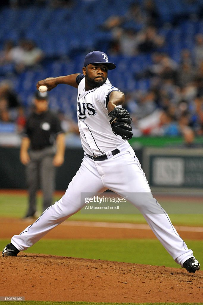 Pitcher <a gi-track='captionPersonalityLinkClicked' href=/galleries/search?phrase=Fernando+Rodney&family=editorial&specificpeople=547291 ng-click='$event.stopPropagation()'>Fernando Rodney</a> #56 of the Tampa Bay Rays throws in relief against the Kansas City Royals June 14, 2013 at Tropicana Field in St. Petersburg, Florida.