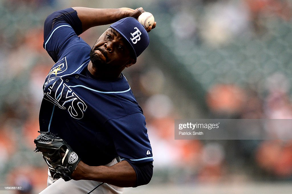 Pitcher <a gi-track='captionPersonalityLinkClicked' href=/galleries/search?phrase=Fernando+Rodney&family=editorial&specificpeople=547291 ng-click='$event.stopPropagation()'>Fernando Rodney</a> #56 of the Tampa Bay Rays works the ninth inning against the Baltimore Orioles at Oriole Park at Camden Yards on May 19, 2013 in Baltimore, Maryland. The Tampa Bay Rays won, 3-1.