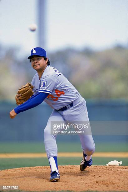 Pitcher Fernando Valenzuela of the Los Angeles Dodgers delivers a pitch during a 1988 season game
