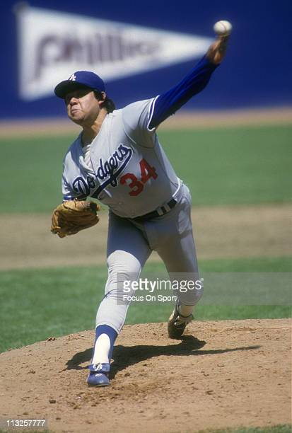 Pitcher Fernando Valenzuela of the Los Angeles Dodgers pitches during a Major League Baseball game circa 1984 at Jack Murphy Stadium in San Diego...