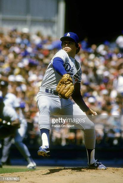 Pitcher Fernando Valenzuela of the Los Angeles Dodgers pitches during a Major League Baseball game circa 1984 Valenzuela played for the Dodgers from...