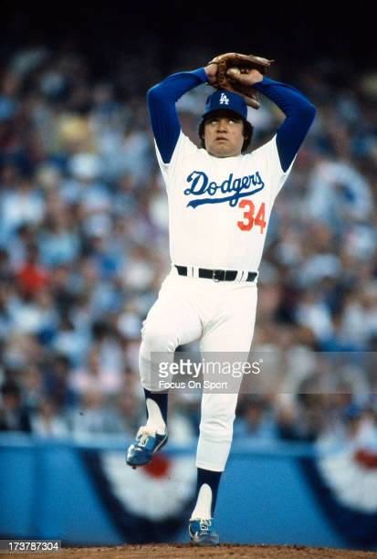 Pitcher Fernando Valenzuela of the Los Angeles Dodgers pitches during an Major League Baseball game circa 1980 at Dodger Stadium in Los Angeles...