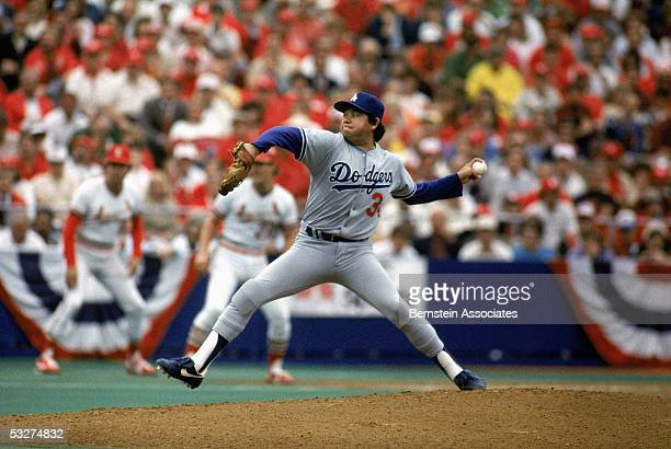 Pitcher Fernando Valenzuela of the Los Angeles Dodgers pitches