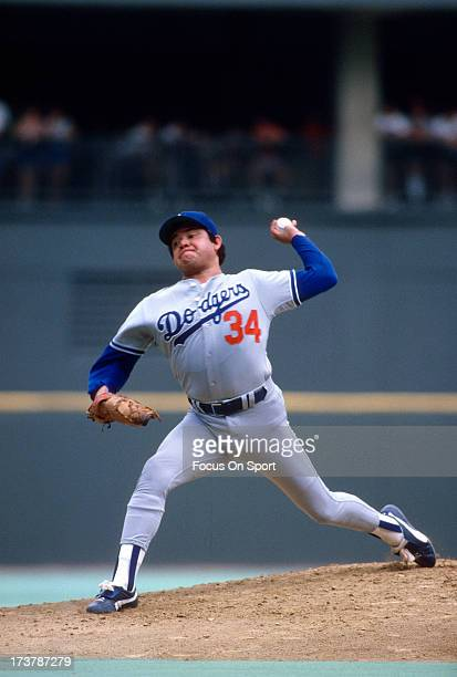Pitcher Fernando Valenzuela of the Los Angeles Dodgers pitches against the Philadelphia Phillies during an Major League Baseball game circa 1981 at...