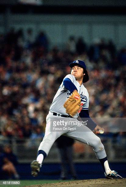 Pitcher Fernando Valenzuela of the Los Angeles Dodgers pitches against the New York Mets during an Major League Baseball game circa 1981 at Shea...
