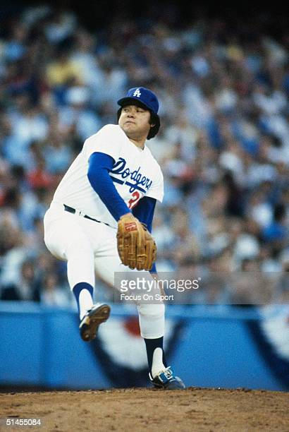 Pitcher Fernando Valenzuela of the Los Angeles Dodgers pitches against the New York Yankees during Game 3 of the 1981 World Series at Dodger Stadium...
