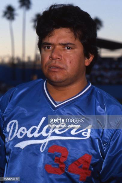 Pitcher Fernando Valenzuela of the Los Angeles Dodgers poses for a portrait on the field at Dodgers Stadium in 1985 in Los Angeles California