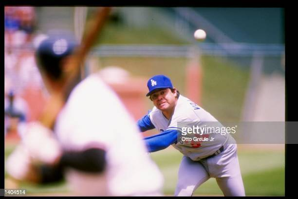 Pitcher Fernando Valenzuela of the Los Angeles Dodgers throws the ball during a game