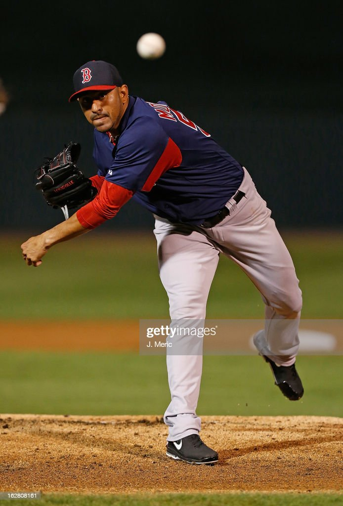 Pitcher <a gi-track='captionPersonalityLinkClicked' href=/galleries/search?phrase=Franklin+Morales&family=editorial&specificpeople=4175198 ng-click='$event.stopPropagation()'>Franklin Morales</a> #56 of the Boston Red Sox pitches against the Baltimore Orioles during a Grapefruit League Spring Training Game at Ed Smith Stadium on February 27, 2013 in Sarasota, Florida.