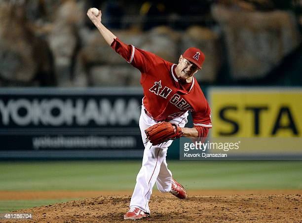 Pitcher Garrett Richards of the Los Angeles Angels a pitch against Boston Red Sox in the ninth inning at Angel Stadium of Anaheim July 18 2015 in...