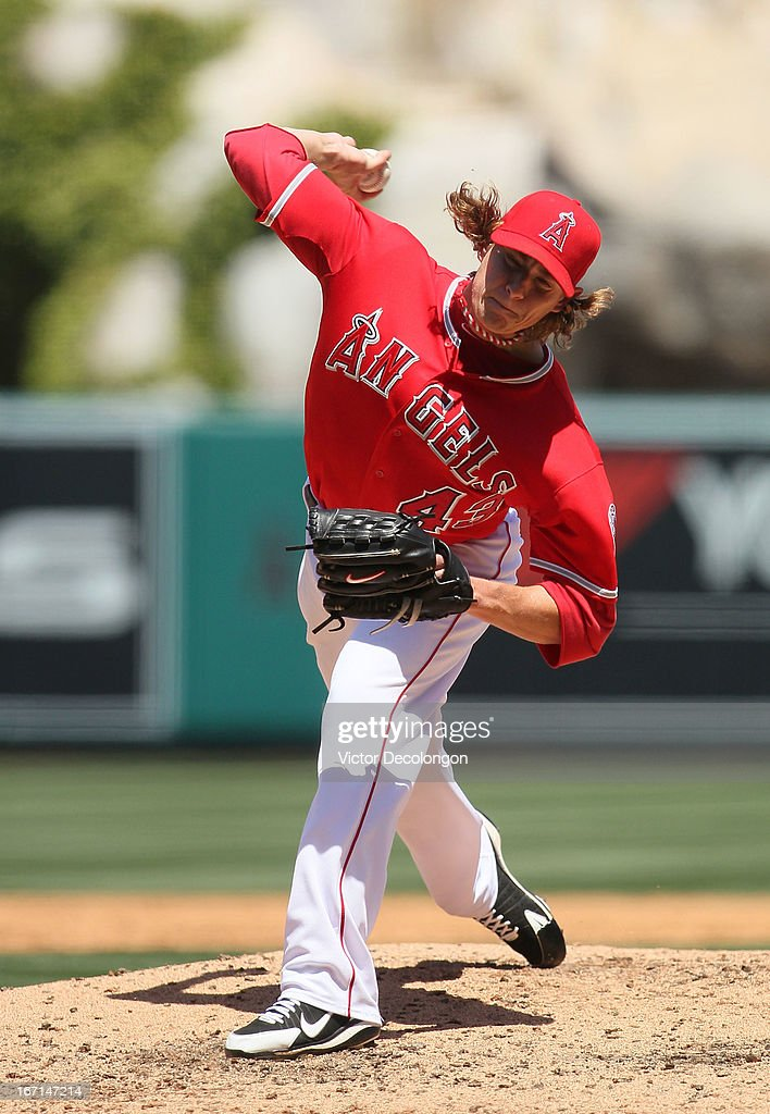 Pitcher Garrett Richards #43 of the Los Angeles Angels of Anaheim pitches in the third inning against the Detroit Tigers during the MLB game at Angel Stadium of Anaheim on April 20, 2013 in Anaheim, California. The Angels defeated the Tigers 10-0.