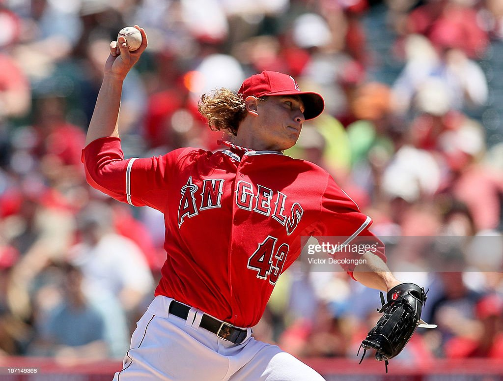 Pitcher Garrett Richards #43 of the Los Angeles Angels of Anaheim pitches in the fourth inning against the Detroit Tigers during the MLB game at Angel Stadium of Anaheim on April 20, 2013 in Anaheim, California. The Angels defeated the Tigers 10-0.