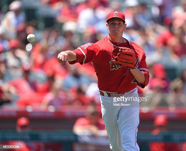 Pitcher Garrett Richards of the Los Angeles Angels of Anaheim throws out Eduardo Nunez of the Minnesota Twins during the sixth inning of the game at...