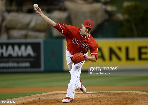 Pitcher Garrett Richards of the Los Angeles Angels of Anaheim throws during the first inning of a baseball game against Kansas City Royals at Angel...