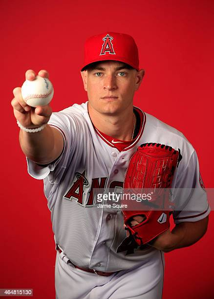 Pitcher Garrett Richards poses during Los Angeles Angels of Anaheim Photo Day on February 28 2015 in Tempe Arizona