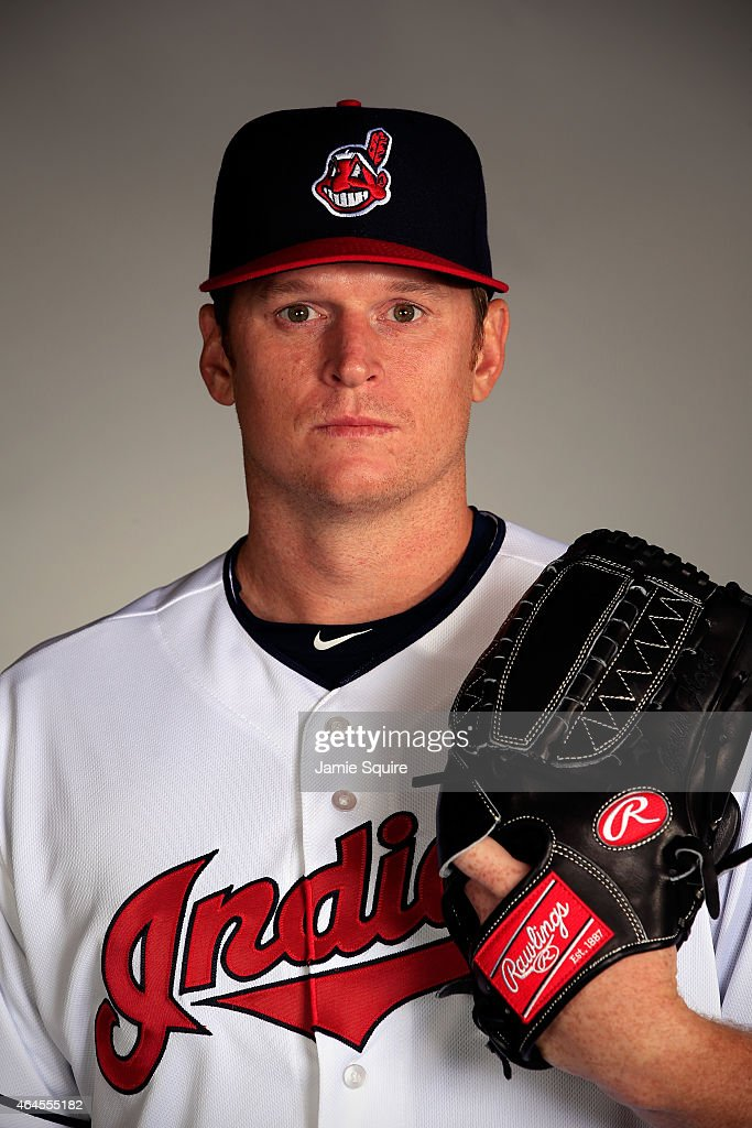 Pitcher <a gi-track='captionPersonalityLinkClicked' href=/galleries/search?phrase=Gavin+Floyd&family=editorial&specificpeople=224627 ng-click='$event.stopPropagation()'>Gavin Floyd</a> #26 poses during Cleveland Indians Photo Day on February 26, 2015 in Goodyear, Arizona.