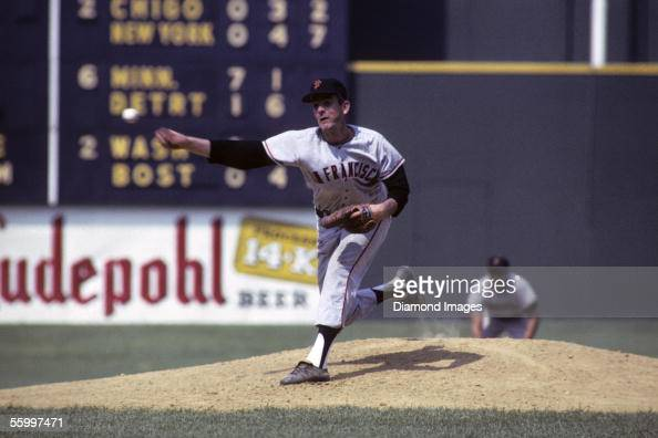 Pitcher Gaylord Perry of the San Francisco Giants throws a pitch during a game on June 26 1966 against the Cincinnati Reds at Crosley Field in...