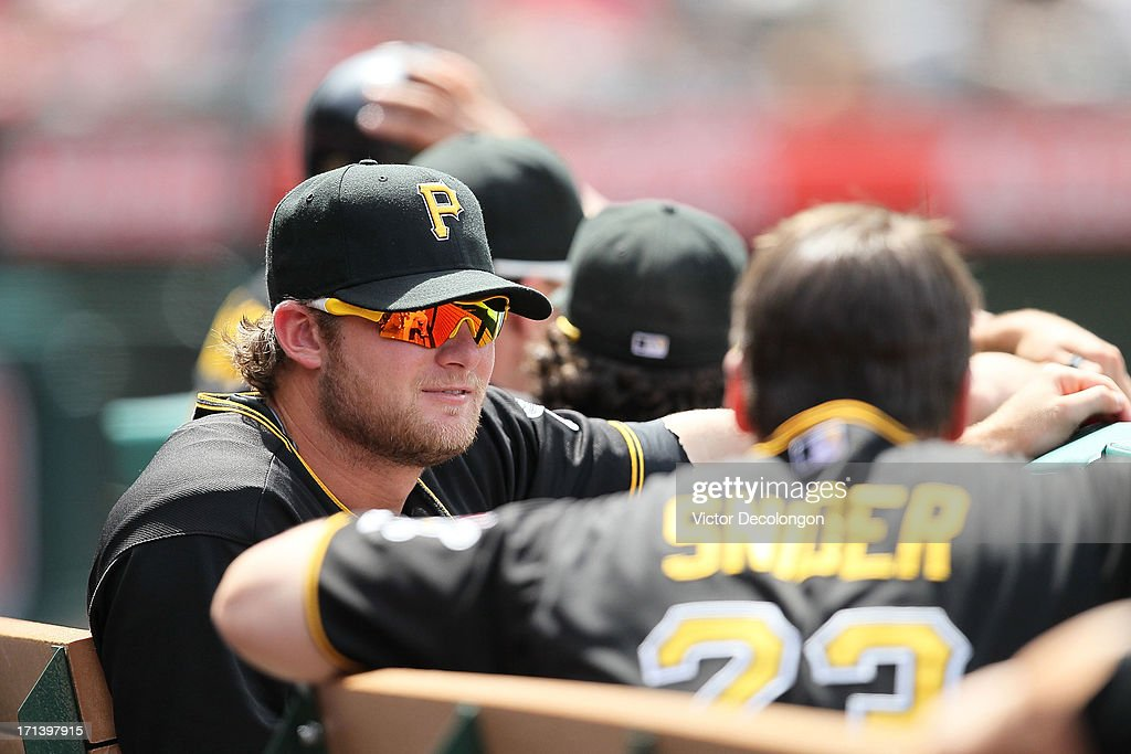 Pitcher Gerrit Cole #45 of the Pittsburgh Pirates looks on during the MLB game against the Los Angeles Angels of Anaheim at Angel Stadium of Anaheim on June 23, 2013 in Anaheim, California. The Pirates defeated the Angels 10-9 in ten innings.
