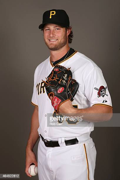 Pitcher Gerrit Cole of the Pittsburgh Pirates poses for a portrait on photo day on February 26 2015 at Pirate City in Bradenton Florida