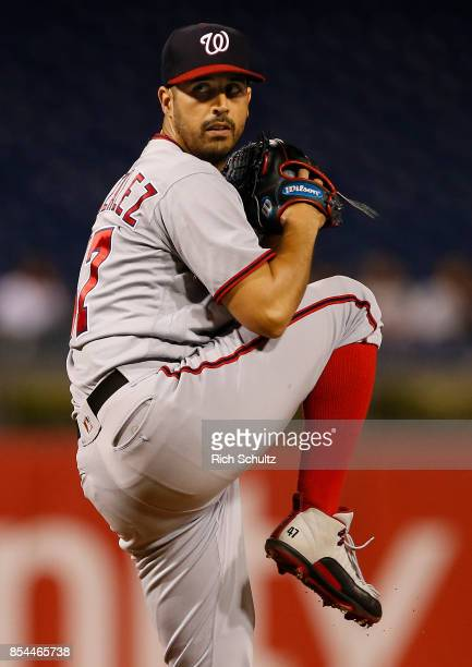Pitcher Gio Gonzalez of the Washington Nationals delivers a pitch against of the Philadelphia Phillies during the first inning of a game at Citizens...