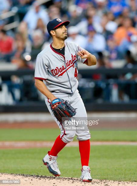 Pitcher Gio Gonzalez of the Washington Nationals follows through on a throw in an MLB baseball game against the New York Mets on June 15 2017 at...