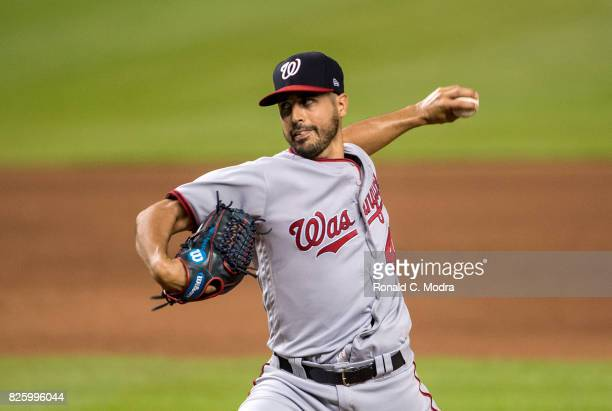 Pitcher Gio Gonzalez of the Washington Nationals pitches during a MLB game against the Miami Marlins at Marlins Park on July 31 2017 in Miami Florida