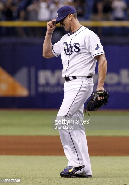 Pitcher Grant Balfour of the Tampa Bay Rays reacts after a 51 win over the Milwaukee Brewers during a game on July 29 2014 at Tropicana Field in St...