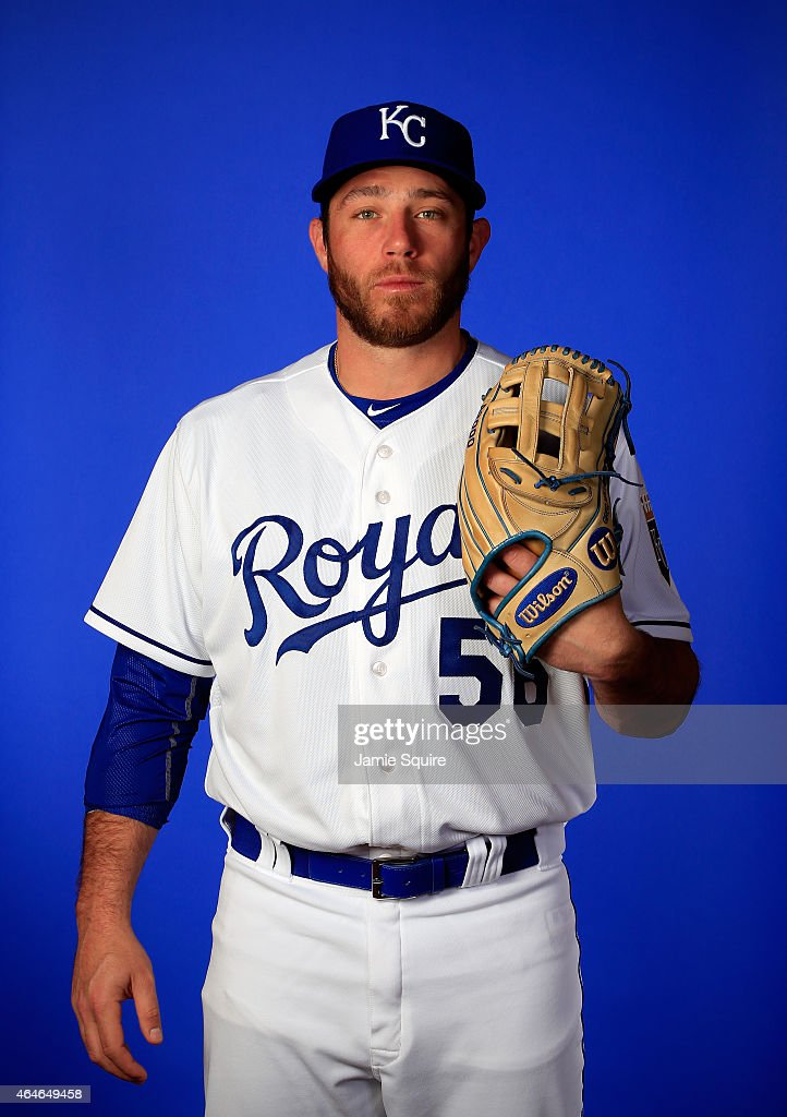Pitcher <a gi-track='captionPersonalityLinkClicked' href=/galleries/search?phrase=Greg+Holland+-+Baseball+Player&family=editorial&specificpeople=8603047 ng-click='$event.stopPropagation()'>Greg Holland</a> #56 poses during Kansas City Royals Photo Day on February 27, 2015 in Surprise, Arizona.
