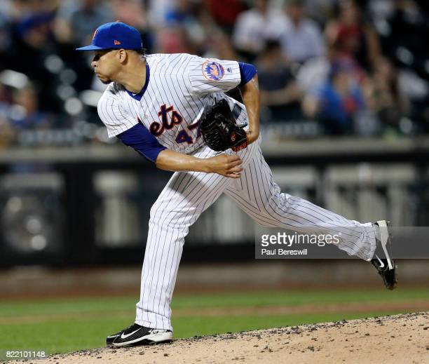 Pitcher Hansel Robles of the New York Mets pitches during an interleague MLB baseball game against the Oakland Athletics on July 21 2017 at CitiField...