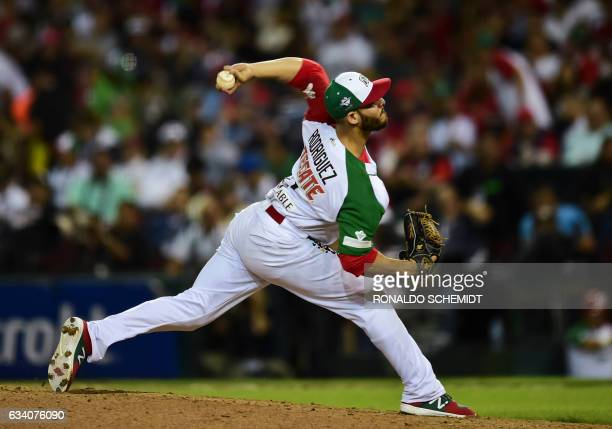 TOPSHOT Pitcher Hector Rodriguez of Aguilas de Mexicali from Mexico throws against Alazanes de Granma from Cuba in the semifinals of Caribbean...