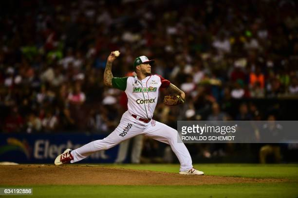 Pitcher Hector Velazquez of Aguilas de Mexicali from Mexico throws against Criollos de Caguas from Puerto Rico during the final of Caribbean Baseball...