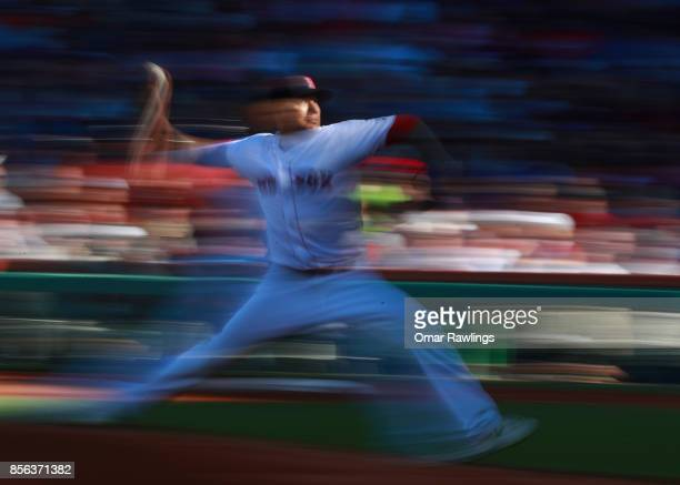 Pitcher Hector Velazquez of the Boston Red Sox picthes at the top of the second inning during the game against the Houston Astros at Fenway Park on...