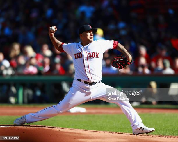 Pitcher Hector Velazquez of the Boston Red Sox pitches at the top of the first inning during the game against the Houston Astros at Fenway Park on...