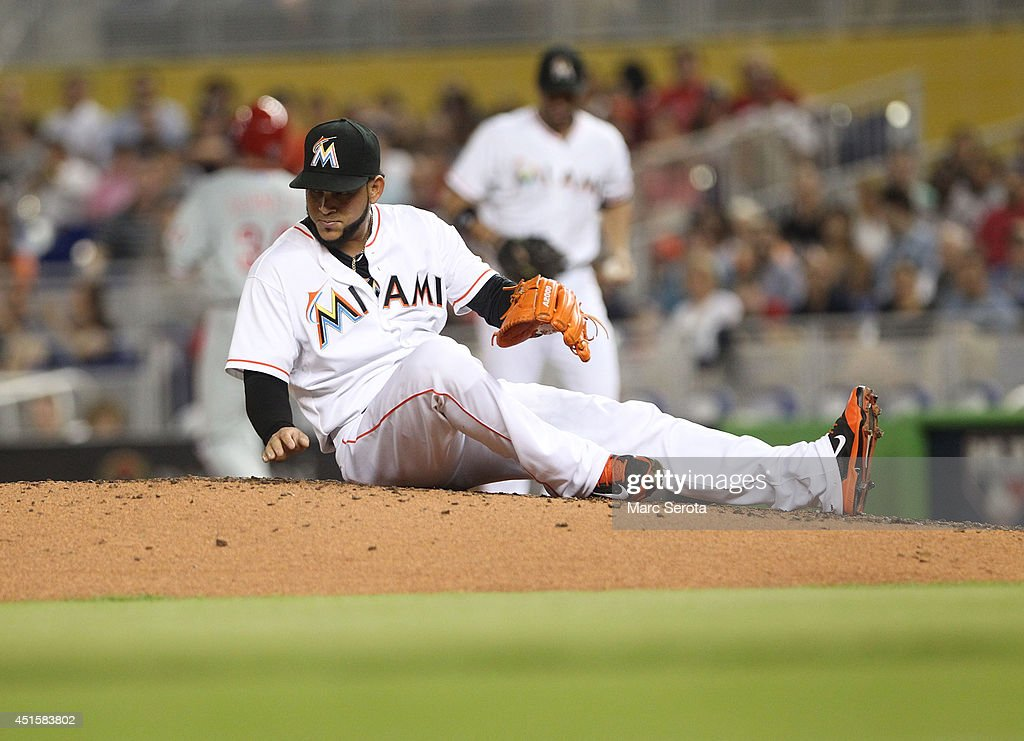 Pitcher <a gi-track='captionPersonalityLinkClicked' href=/galleries/search?phrase=Henderson+Alvarez&family=editorial&specificpeople=7091625 ng-click='$event.stopPropagation()'>Henderson Alvarez</a> #37 of the Miami Marlins sits on the mound after making a play against the Philadelphia Phillies at Marlins Park on July 1, 2014 in Miami, Florida. The Marlins defeated the Phillies 5-4.