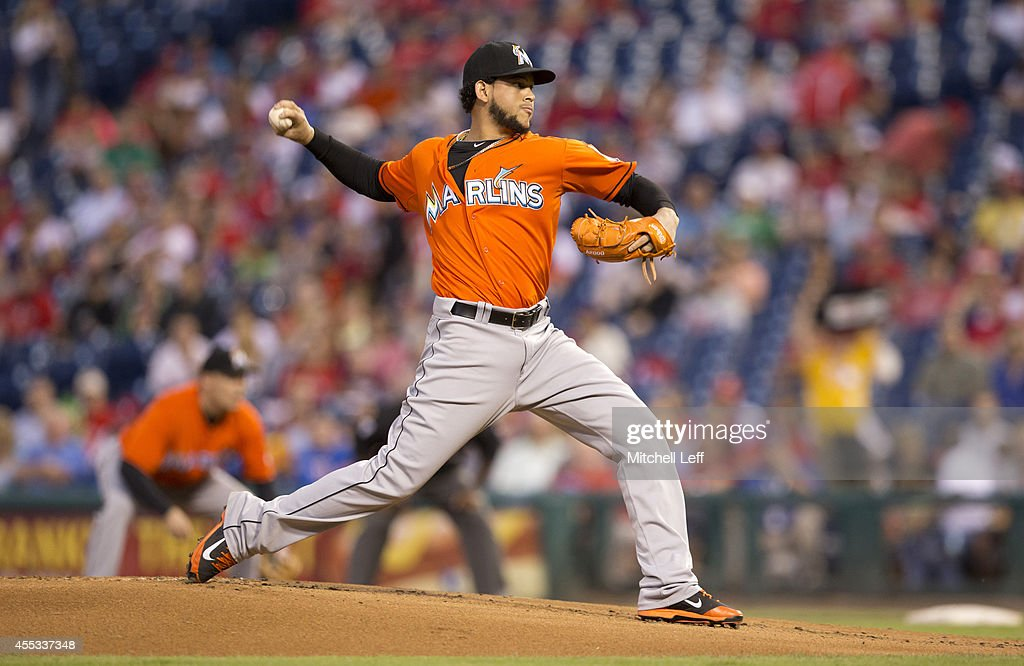 Pitcher <a gi-track='captionPersonalityLinkClicked' href=/galleries/search?phrase=Henderson+Alvarez&family=editorial&specificpeople=7091625 ng-click='$event.stopPropagation()'>Henderson Alvarez</a> #37 of the Miami Marlins throws a pitch in the bottom of the first inning against the Miami Marlins on September 12, 2014 at Citizens Bank Park in Philadelphia, Pennsylvania.