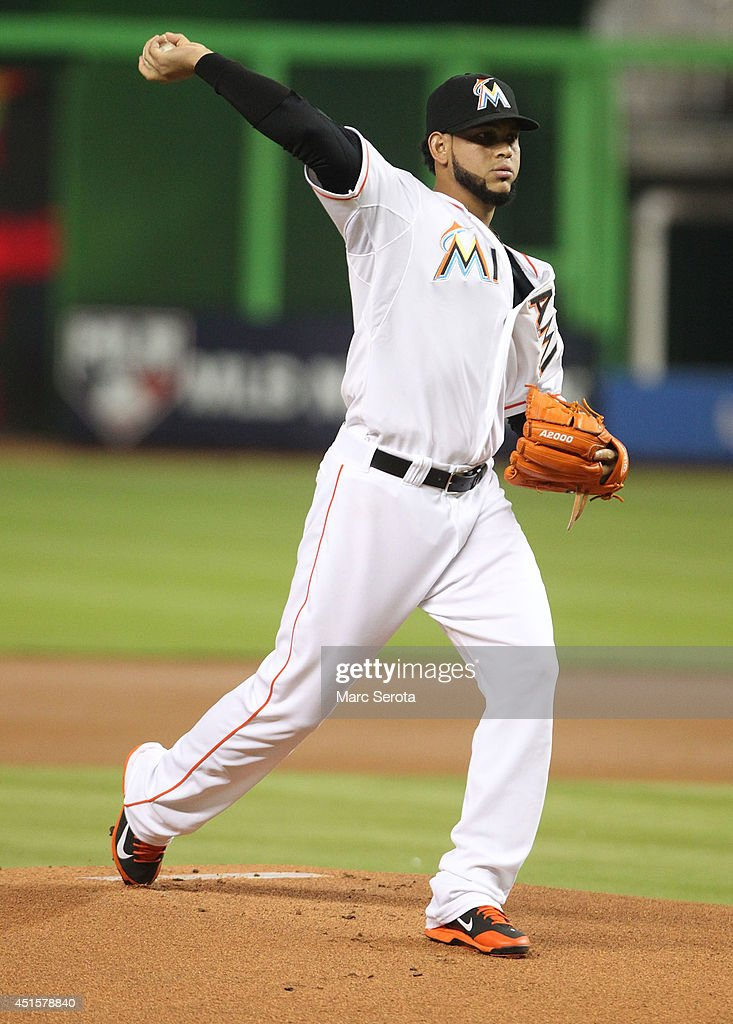 Pitcher <a gi-track='captionPersonalityLinkClicked' href=/galleries/search?phrase=Henderson+Alvarez&family=editorial&specificpeople=7091625 ng-click='$event.stopPropagation()'>Henderson Alvarez</a> #37 of the Miami Marlins throws against the Philadelphia Phillies during the second inning at Marlins Park on July 1, 2014 in Miami, Florida.