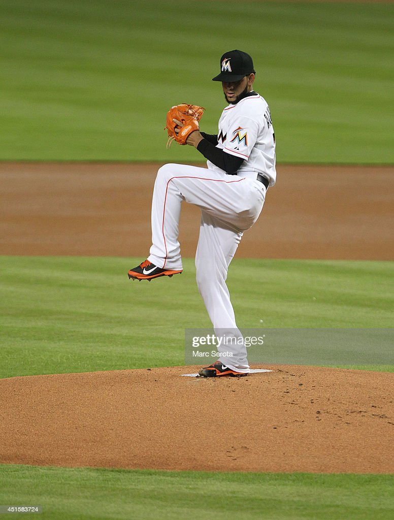 Pitcher <a gi-track='captionPersonalityLinkClicked' href=/galleries/search?phrase=Henderson+Alvarez&family=editorial&specificpeople=7091625 ng-click='$event.stopPropagation()'>Henderson Alvarez</a> #37 of the Miami Marlins throws against the Philadelphia Phillies during the fifth inning at Marlins Park on July 1, 2014 in Miami, Florida. The Marlins defeated the Phillies 5-4.