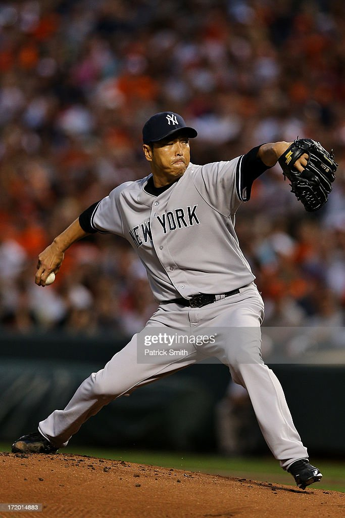 Pitcher <a gi-track='captionPersonalityLinkClicked' href=/galleries/search?phrase=Hiroki+Kuroda&family=editorial&specificpeople=5498664 ng-click='$event.stopPropagation()'>Hiroki Kuroda</a> #18 of the New York Yankees works the first inning against the Baltimore Orioles at Oriole Park at Camden Yards on June 30, 2013 in Baltimore, Maryland.