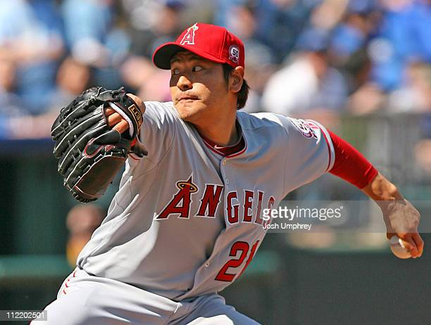 Pitcher Hisanori Takahashi of the Los Angeles Angels of Anaheim pitches against the Kansas City Royals on April 2 2011 at Kauffman Stadium in Kansas...