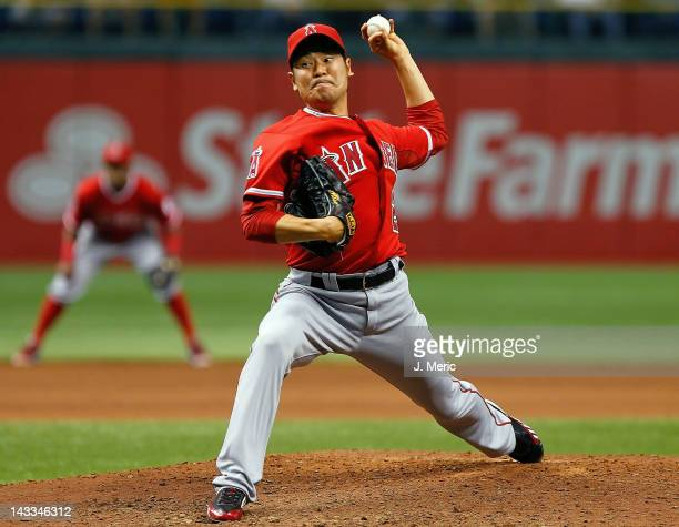 Pitcher Hisanori Takahashi of the Los Angeles Angels of Anaheim pitches against the Tampa Bay Rays during the game at Tropicana Field on April 24...