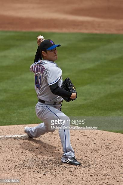 Pitcher Hisanori Takahashi of the New York Mets pitches during a MLB game against the Florida Marlins in Sun Life Stadium on May 16 2010 in Miami...