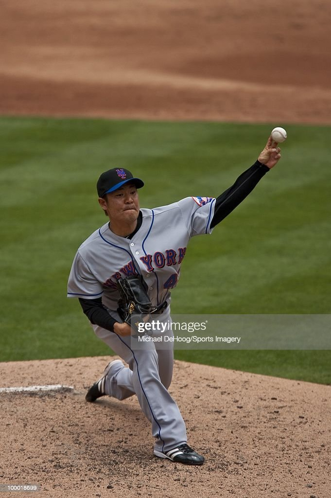 Pitcher Hisanori Takahashi #47 of the New York Mets pitches during a MLB game against the Florida Marlins in Sun Life Stadium on May 16, 2010 in Miami, Florida.